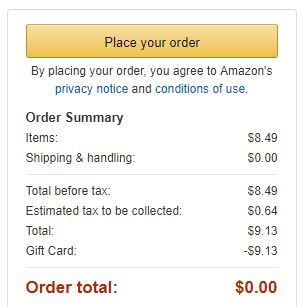 Final price with tax on amazon