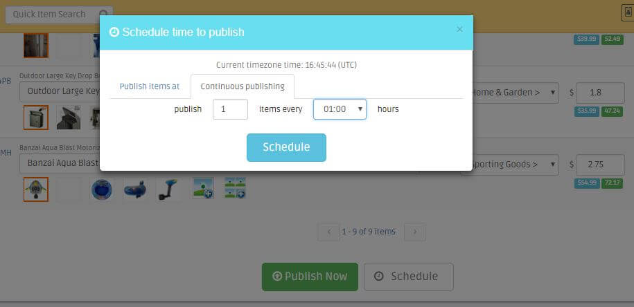 publishing listings in schedule